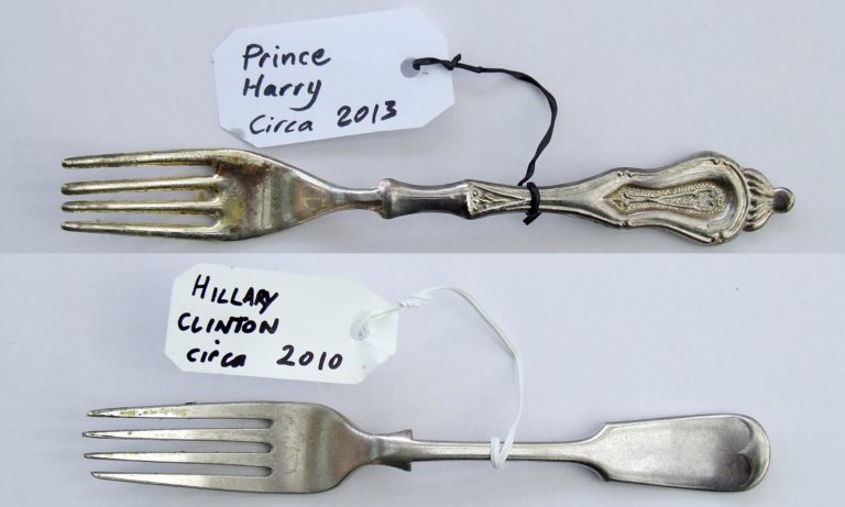 Crumbs and all: Prince Harry, Hillary Clinton and Julia Gillard have cutlery swiped for exhibition